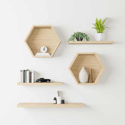 Floating shelves with decorative items